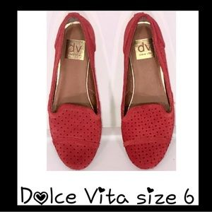 Dolce Vita Red Suede Flats- Size 6